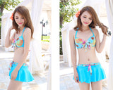 Halter Bikini Set with Floral Cover Up Blouse - Blue