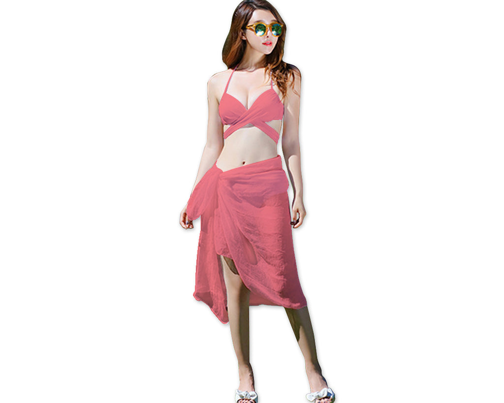 Solid Color Bandage Triangle Bikini Set with Cover Up Sarong - Pink