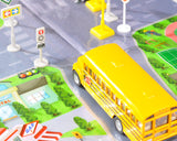 Blue Bird Vision School Bus with Road Signs Accessories Play Rug