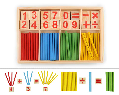 76 Pcs Wooden Counting Sticks and Tiles Preschool Educational Toy Set