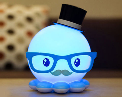 Cute Octopus USB Charging LED Night Light for Children - Blue