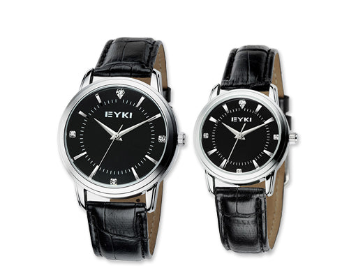 Vintage Pair of Men and Women Leather Couple Watches - Black