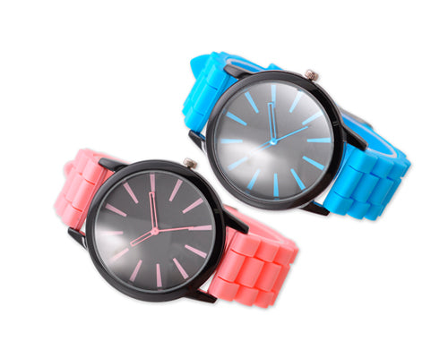 2Pcs Geneva Jelly Silicone Unisex Lover Wrist Watches