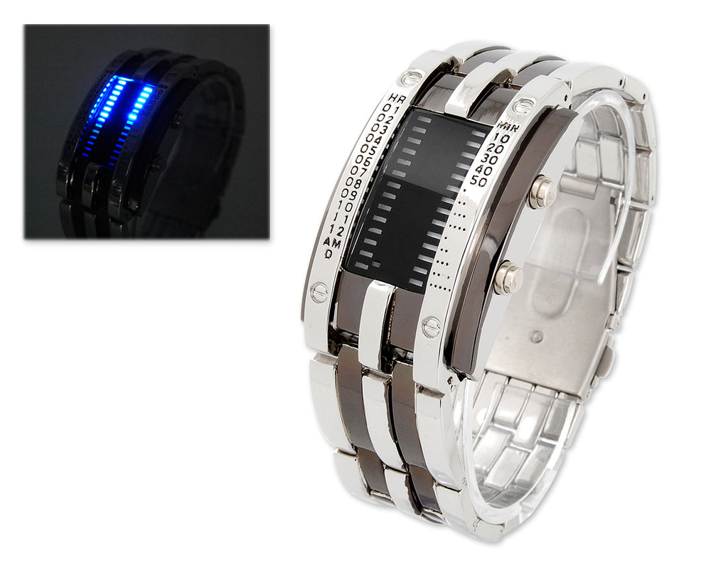 Luxury Men's Army Style Bracelet LED Sport Binary Wrist Watch