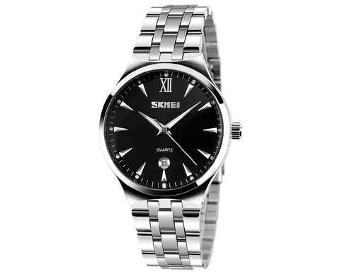 SKMEI Date Display Luminous Stainless Steel Men Watches 9071 - Black