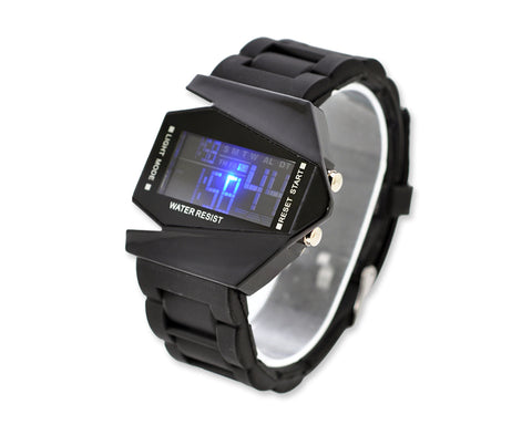 LED Aircraft Fighter Silicone Men Women Unisex Sport Watch