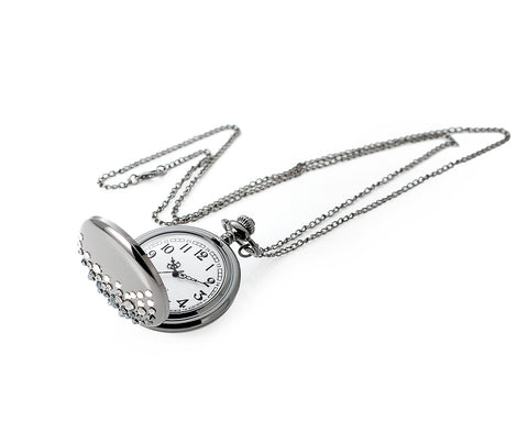 Luxury Swarovski Crystal Pocket Watch with Chain - Black