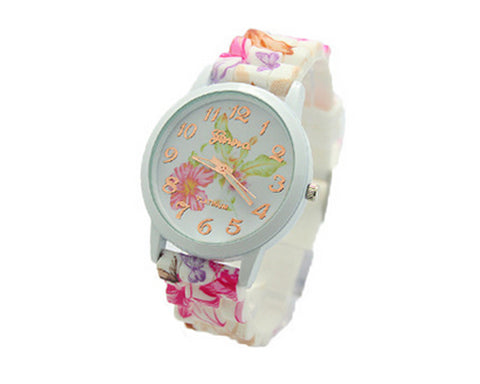 Geneva Nice Flower Silicone Analog Quartz Women Wrist Watch