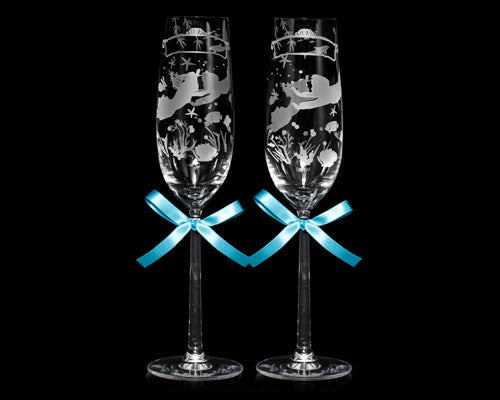 Ocean of Love Crystal Champagne Flutes