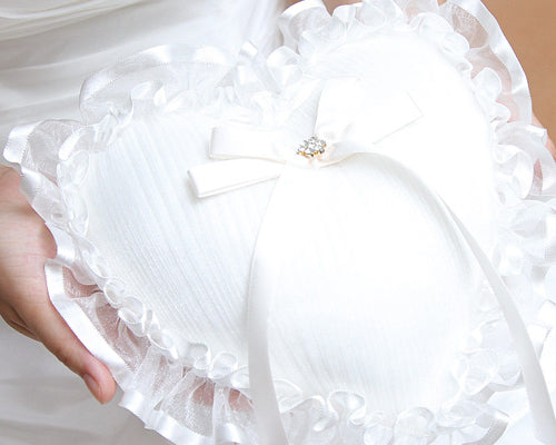 Sweet Heart Lace Wedding Ring Pillow