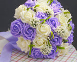 24 Pcs Bridal Wedding Flowers Bouquet - White Purple