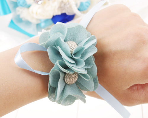 6 Pcs Wedding Bridesmaids Wrist Flower Corsage - Blue