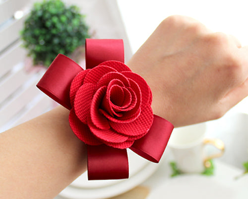 6 Pcs Flower Wedding Wrist Corsages - Red