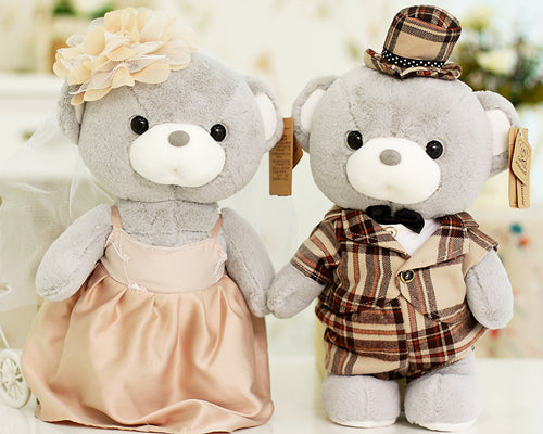 Cute Couple Teddy Bears Wedding Dolls - Tartan