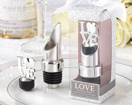 Ture Love Wedding Favor Wine Pourer Bottle Stopper Set