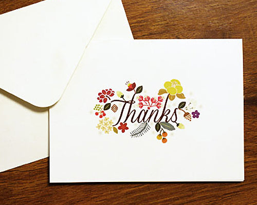 8 Pcs Flower Wedding Thank You Cards