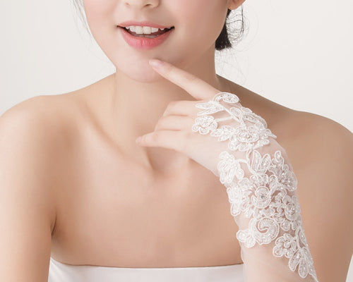 Ivory Flower Bridal Fingerless Glove for Wedding