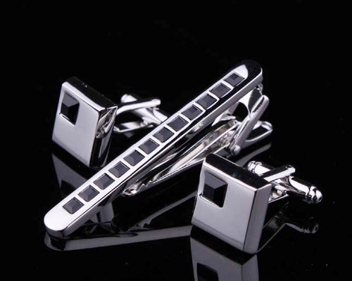 Chic Crystal Cufflinks and Tie Clip Set - Black