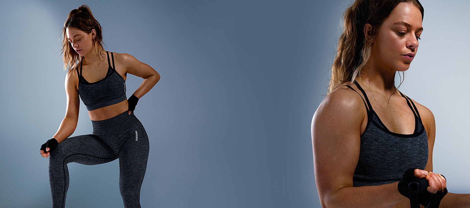 Becca Sills wearing Adapt Marl Sports Bra and Leggings in Black against a blue background