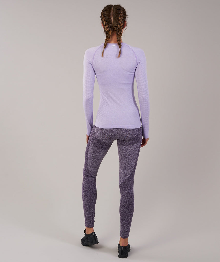 Gymshark Seamless Long Sleeve Top - Pastel Lilac Marl 2