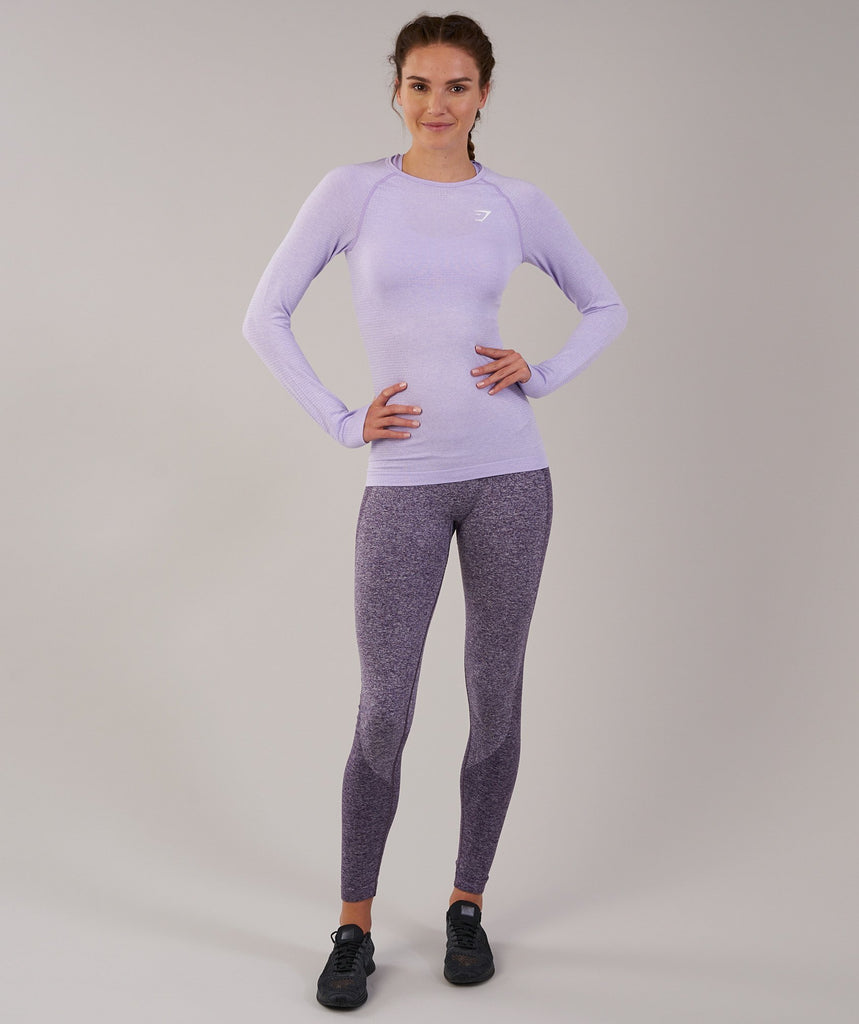 Gymshark Seamless Long Sleeve Top - Pastel Lilac Marl 1