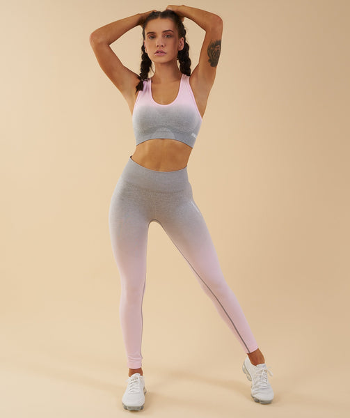 Gymshark Ombre Seamless Sports Bra - Light Grey/Chalk Pink 4