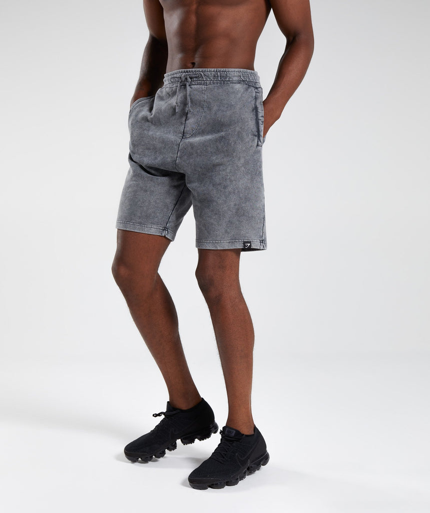 Gymshark Acid Wash Shorts - Light Grey 4