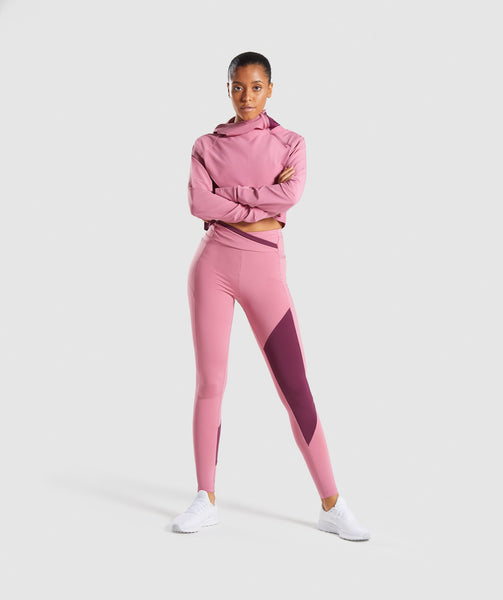Gymshark Asymmetric Performance Hoodie - Dusky Pink/Dark Ruby 3