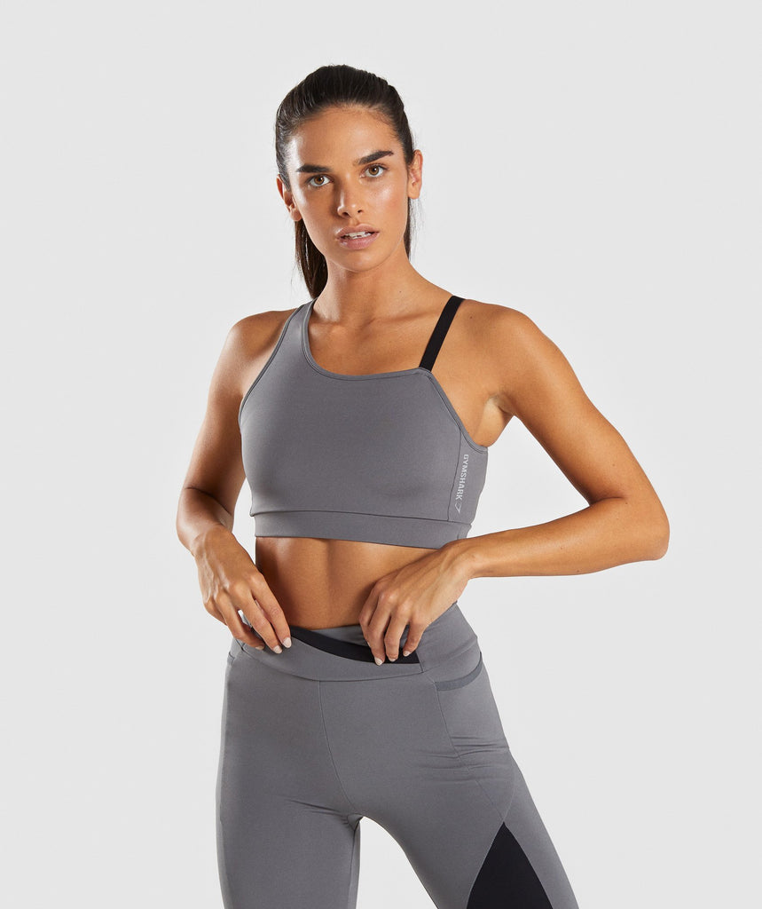 470ca81573 Gymshark Asymmetric Sports Bra - Smokey Grey Black 4
