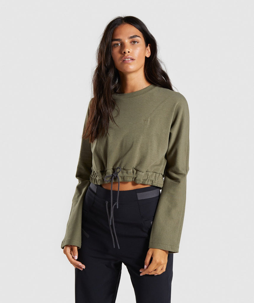Gymshark Box Utility Cropped Sweater - Khaki 1