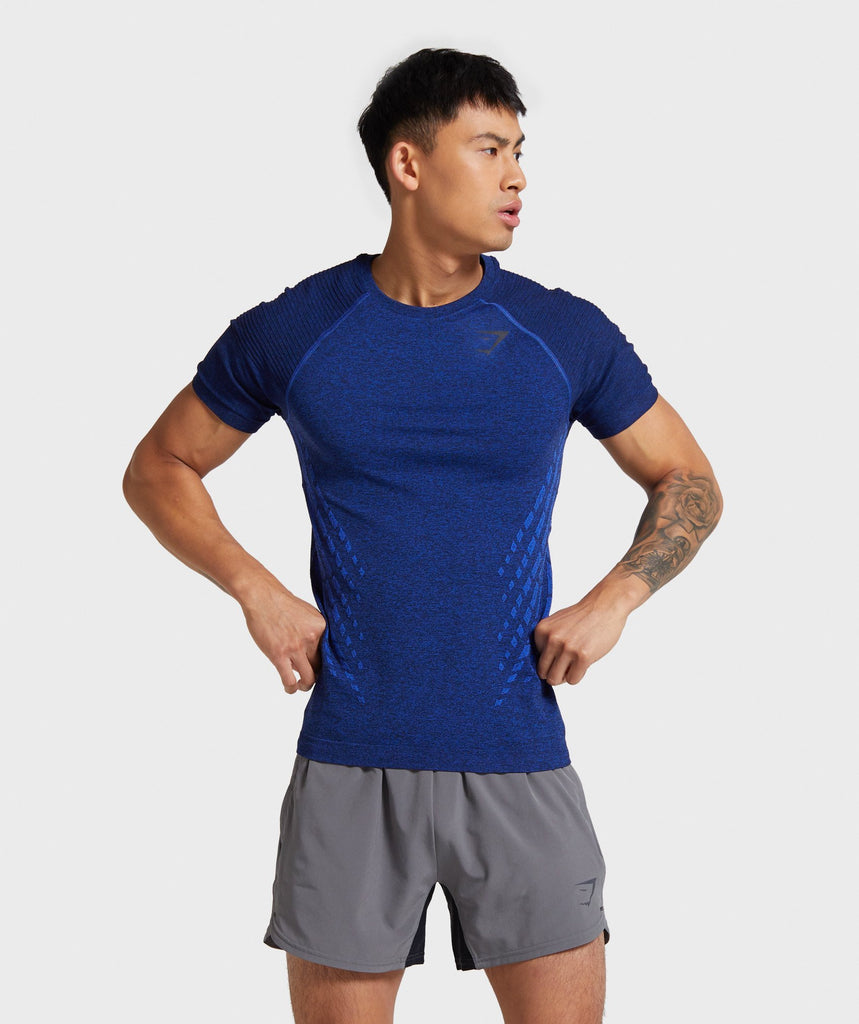 Gymshark Circuit Seamless T-Shirt - Dark Blue Marl 1