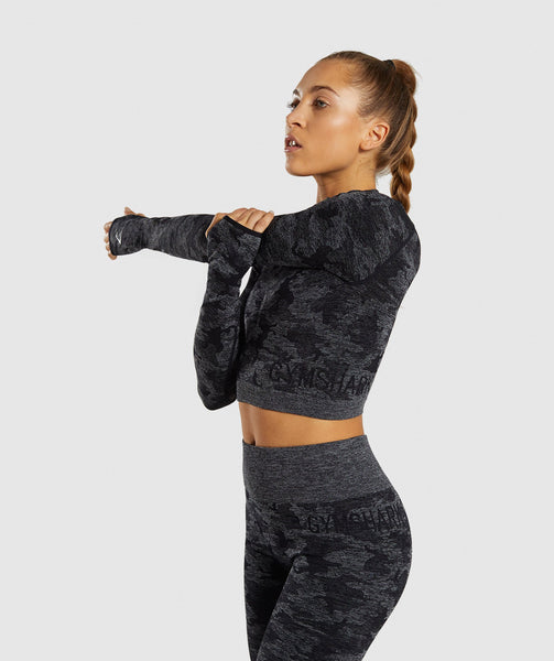 Gymshark Camo Seamless Long Sleeve Crop Top - Black 2