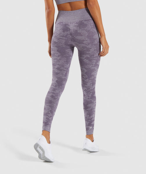 Gymshark Camo Seamless Leggings - Lavender Grey 1