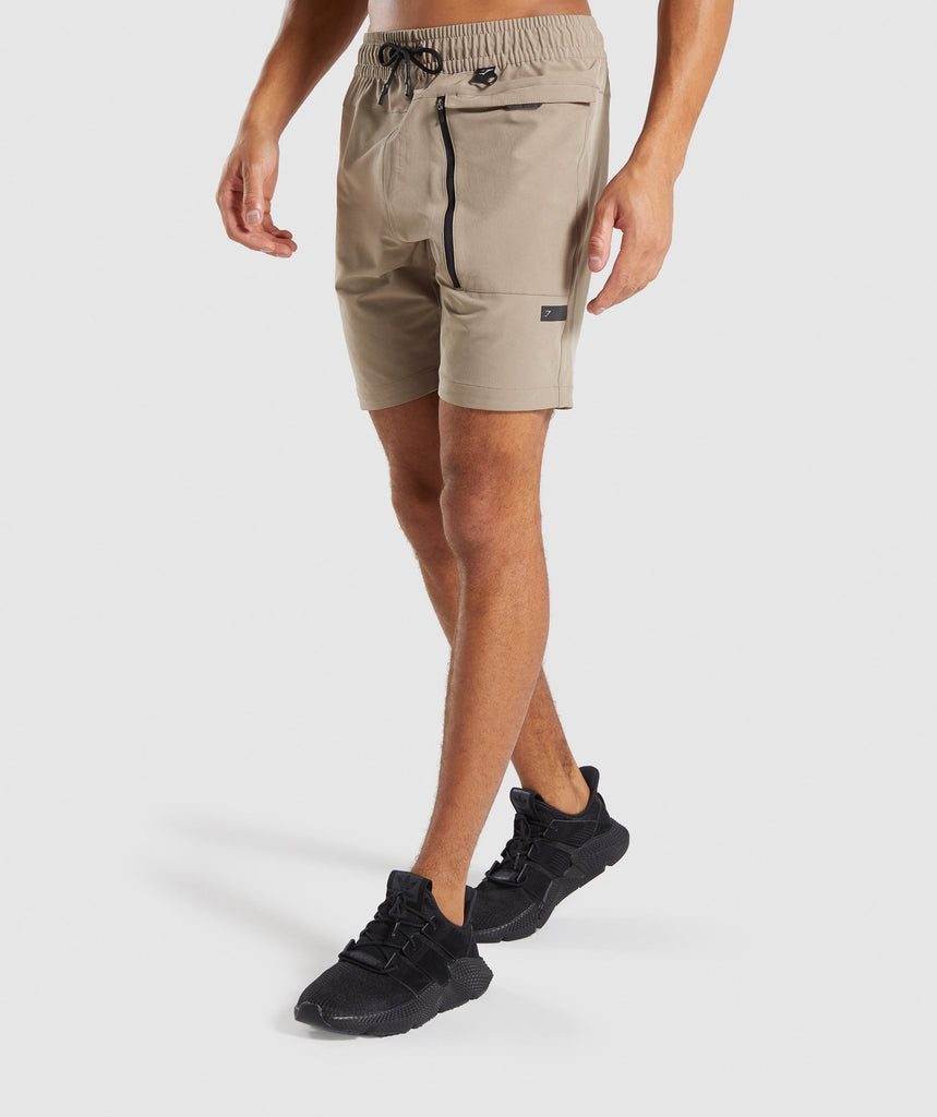 Gymshark Cargo Tech Shorts - Driftwood Brown 1
