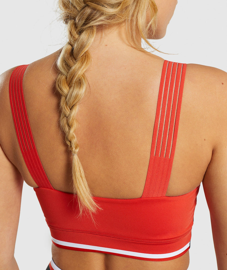 Gymshark Colour Block Sports Bra - Black/Red/White 5