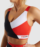 Gymshark Colour Block Sports Bra - Black/Red/White 12