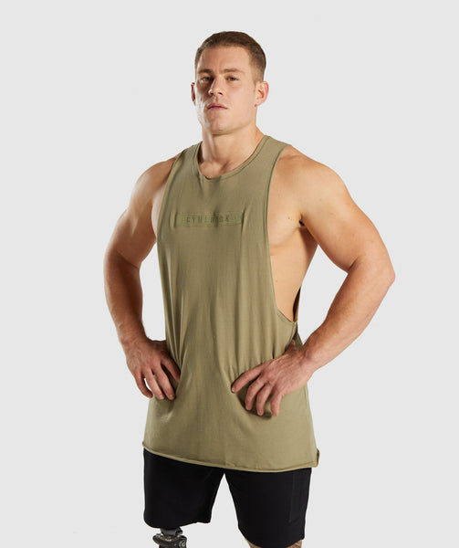 Gymshark Crucial Drop Arm Tank - Light Khaki 4