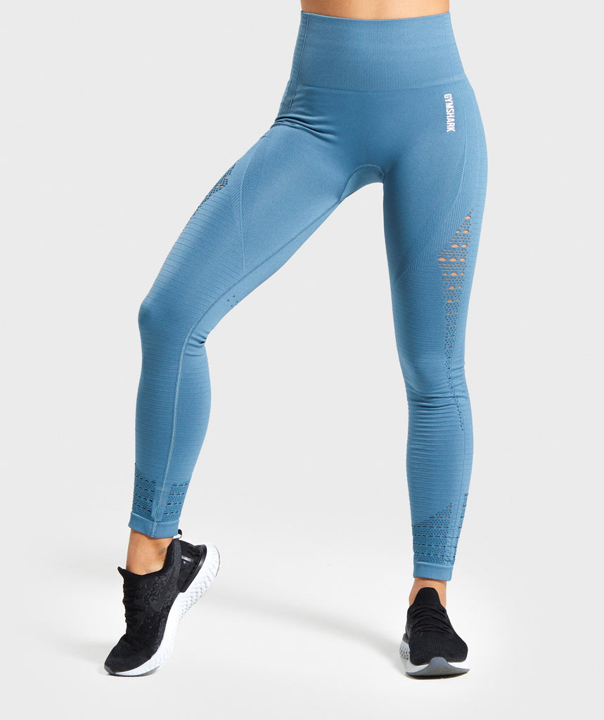 Gymshark Energy+ Seamless Leggings - Blue Stone 1