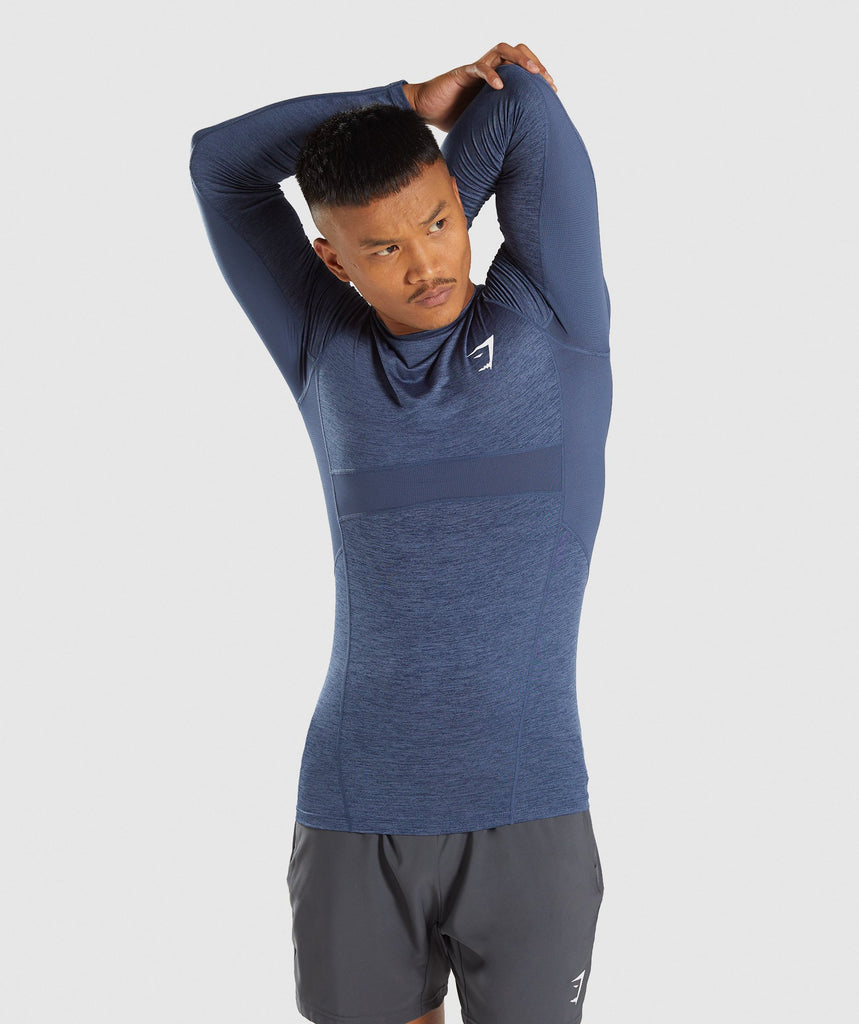 Gymshark Element+ Baselayer Long Sleeve Top - Sapphire Blue Marl 1