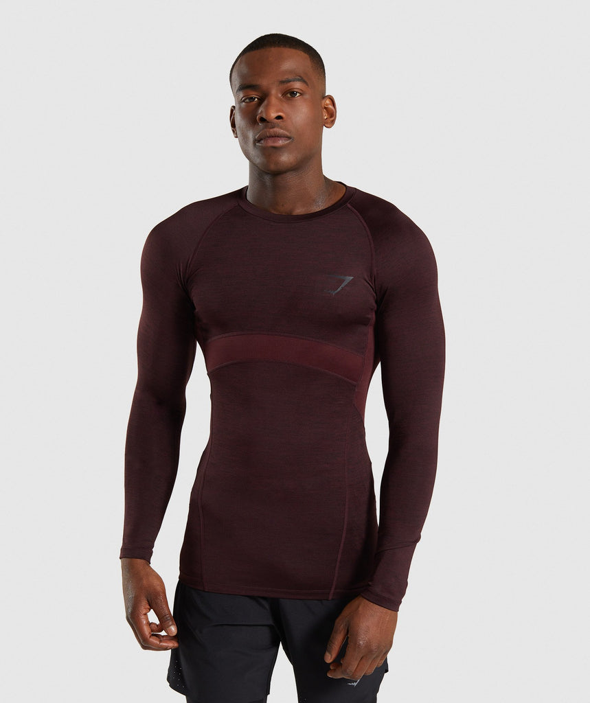 Gymshark Element+ Baselayer Long Sleeve Top - Ox Red Marl 1