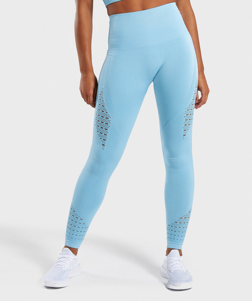 Gymshark Energy Seamless High Waisted Leggings - Sky Blue 4