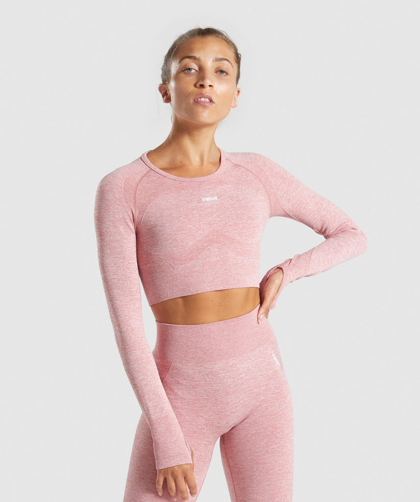 Gymshark Flex Sports Long Sleeve Crop Top - Pink/White 1