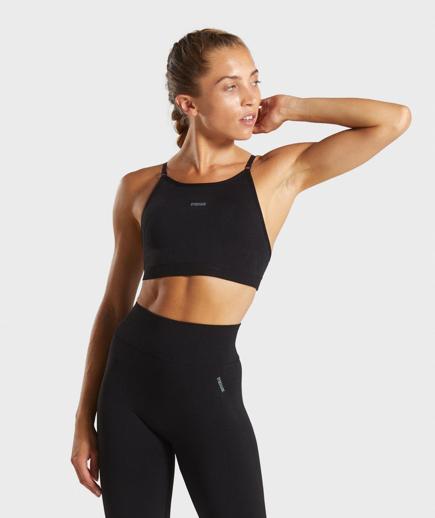Gymshark Flex Strappy Sports Bra - Black/Grey 1