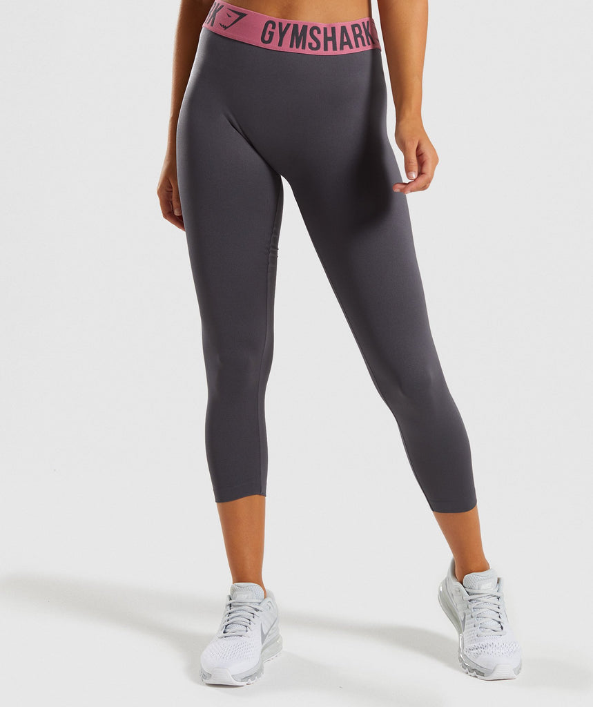 Gymshark Fit Cropped Leggings - Charcoal/Dusky Pink 4