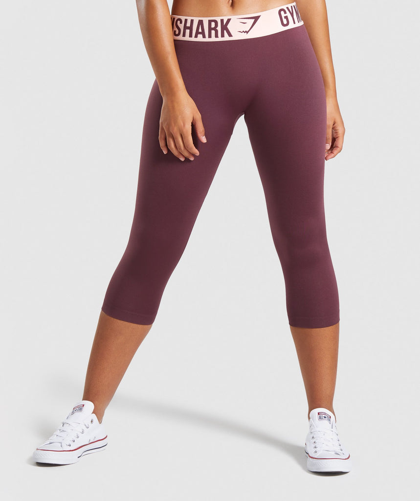 Gymshark Fit Cropped Leggings - Berry Red/Pink 1