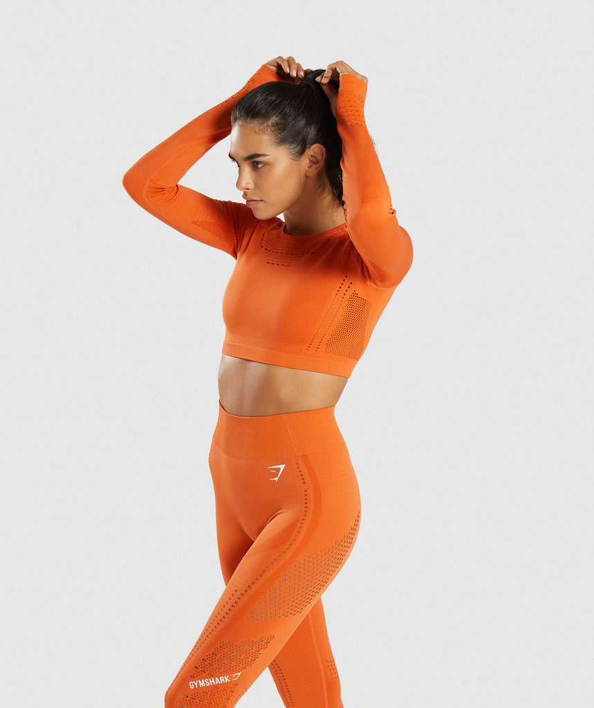 8f868ece6db Gymshark Flawless Knit Long Sleeve Crop Top - Burnt Orange | Gymshark