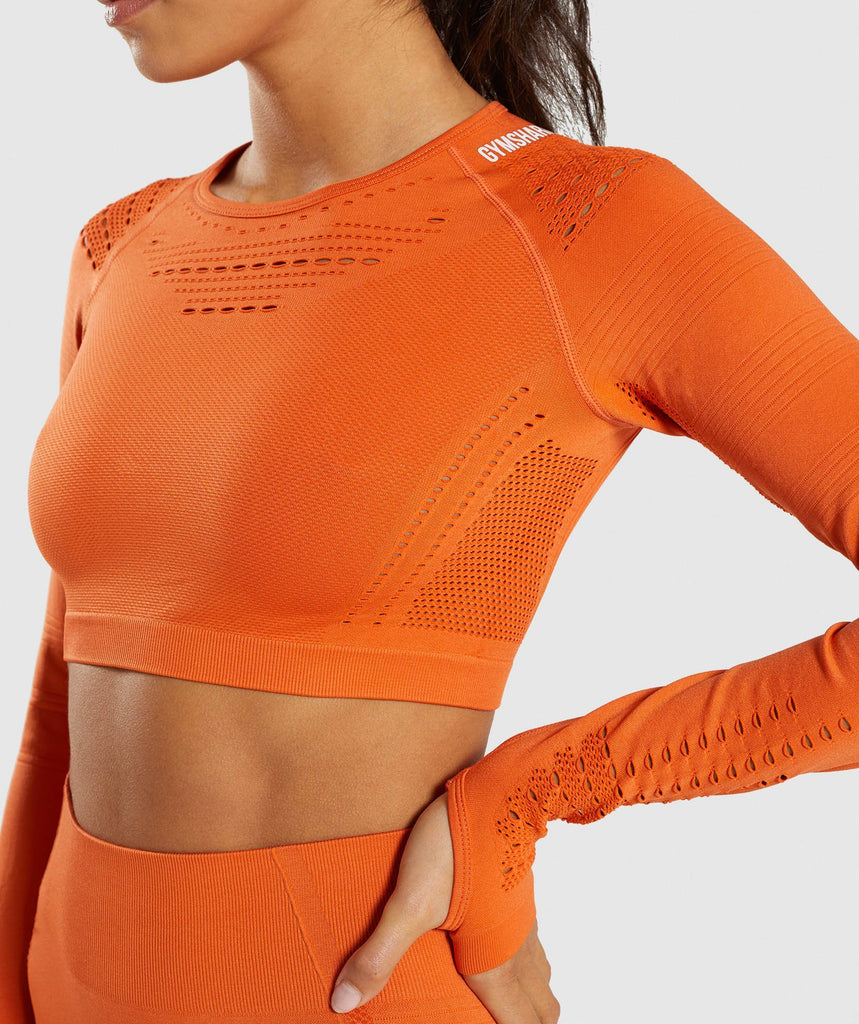 Gymshark Flawless Knit Long Sleeve Crop Top - Burnt Orange 6