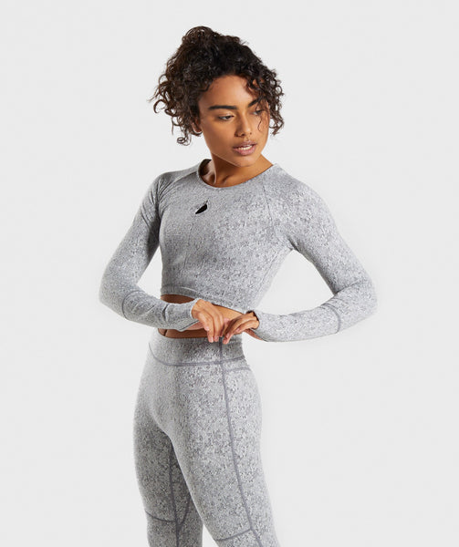 Gymshark Fleur Texture Long Sleeve Crop - Charcoal Marl 2
