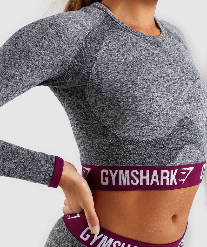 Gymshark Flex Long Sleeve Crop Top - Charcoal/Deep Plum 5