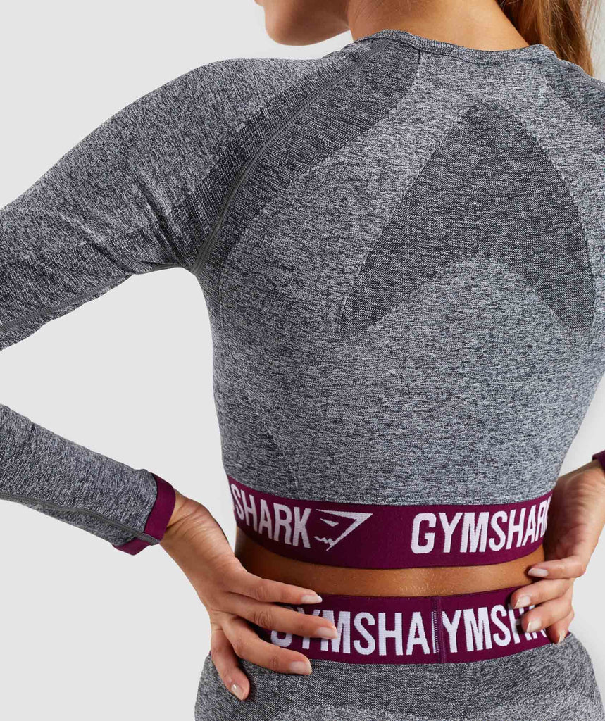 Gymshark Flex Long Sleeve Crop Top - Charcoal/Deep Plum 6